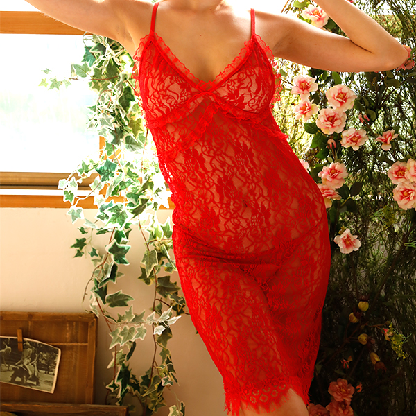Strapped Lace Transparent Nightwear Lingerie - Red
