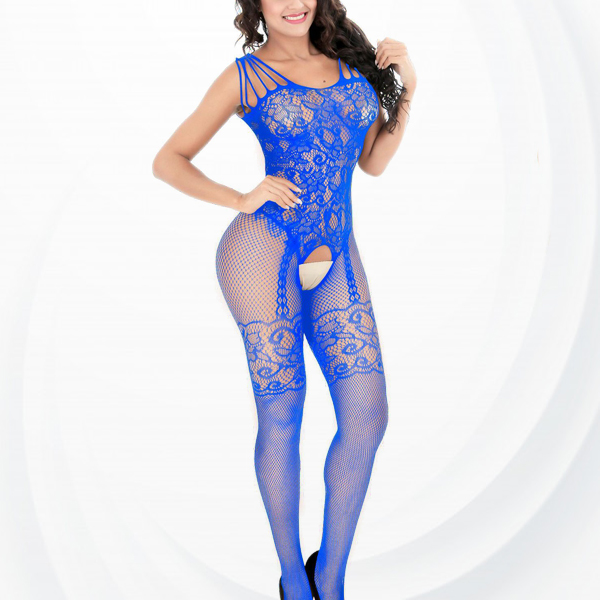 Fish Net Hollow Transparent Body Stockings - Blue