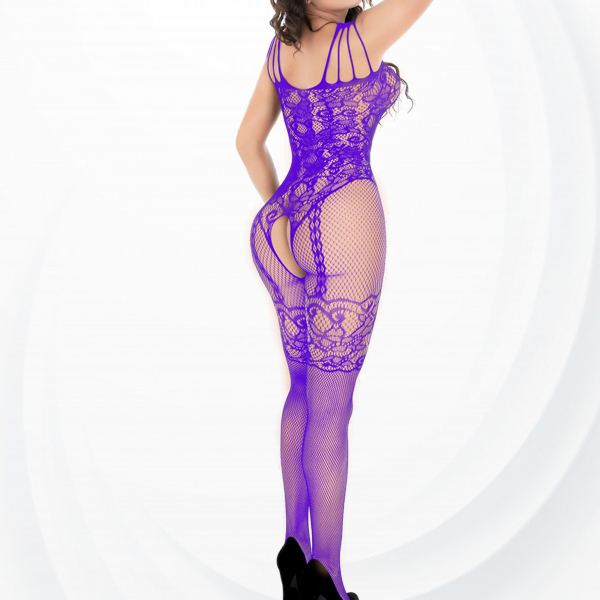 Fish Net Hollow Transparent Body Stockings - Purple