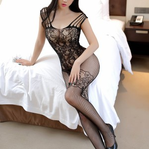 Fish Net Hollow Transparent Body Stockings - Black