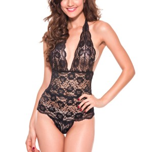 Halter Lace Backless Teddies Black Ultra Sexy Sleepwear