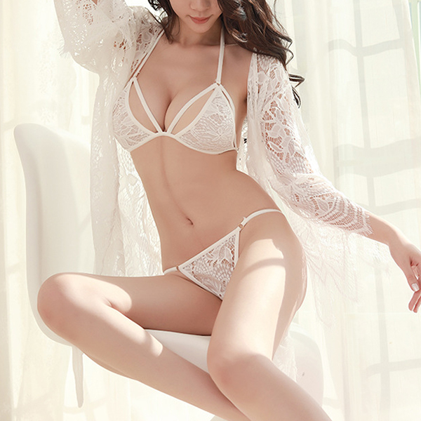 Special Moments Three Pieces Lace Lingerie - White