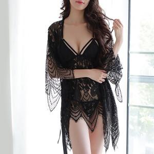 Nightwear Attractions Lace Texture Lingerie Set - Black