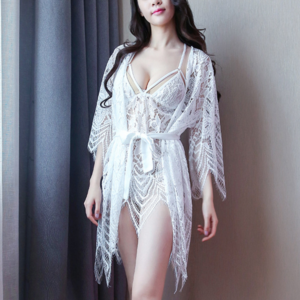 Nightwear Attractions Lace Texture Lingerie Set - White