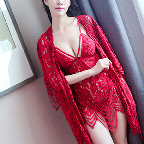 Nightwear Attractions Lace Texture Lingerie Set - Red