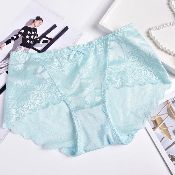 Silk Lace Textured Flare Underwear - Green