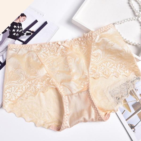 Silk Lace Textured Flare Underwear - Khaki