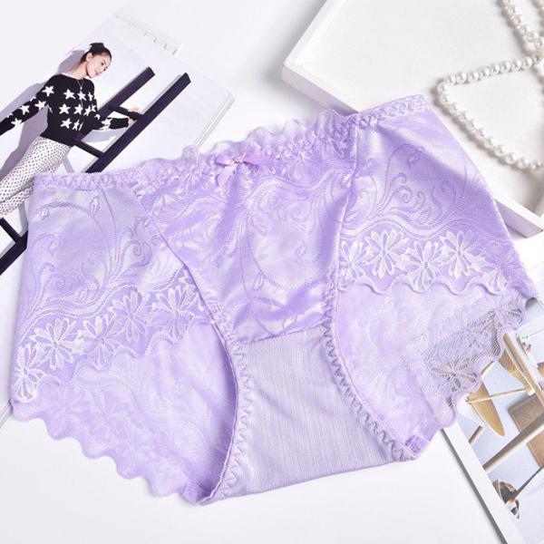 Silk Lace Textured Flare Underwear - Purple