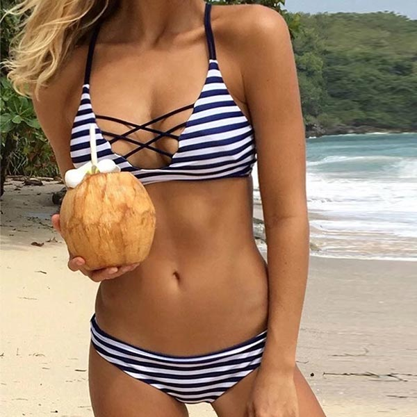 Cross Straps Push Up Bra Women Swimsuit Bikini - Navy