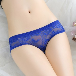 Thread Art Elastic Floral Transparent Underwear - Blue