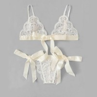 Shiny Ribbon Sexy Hollow Floral Textured Night Intimate Lingerie Set - White