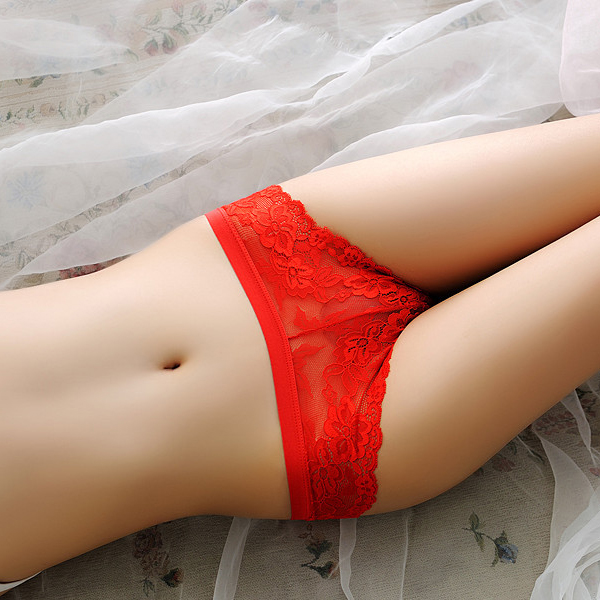 Back Bow Cute Lace Texture Floral Underwear - Red