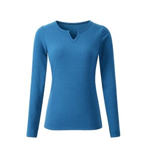 High Quality V Neck Long Sleeve Breathable Shirts - Blue