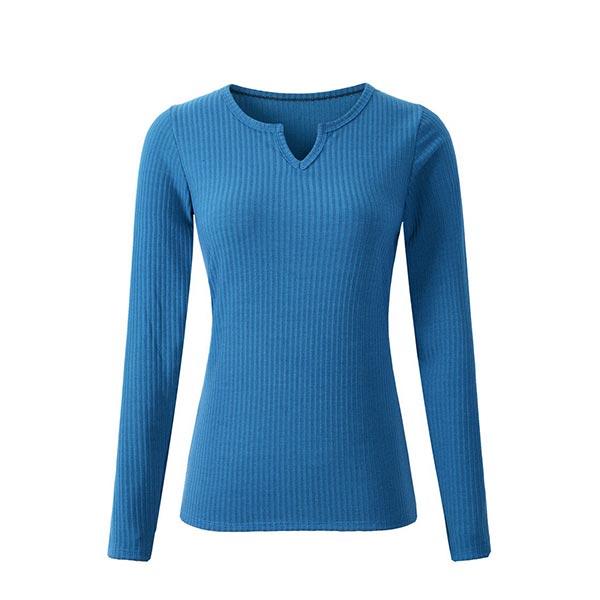 High Quality V Neck Long Sleeve Breathable Shirts - Blue