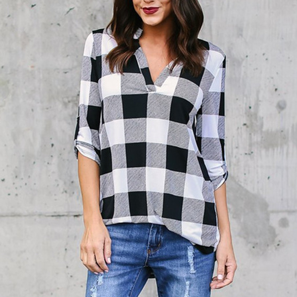 Checks Printed V Neck Full Sleeves Shirt - White