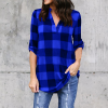 Checks Printed V Neck Full Sleeves Shirt - Blue