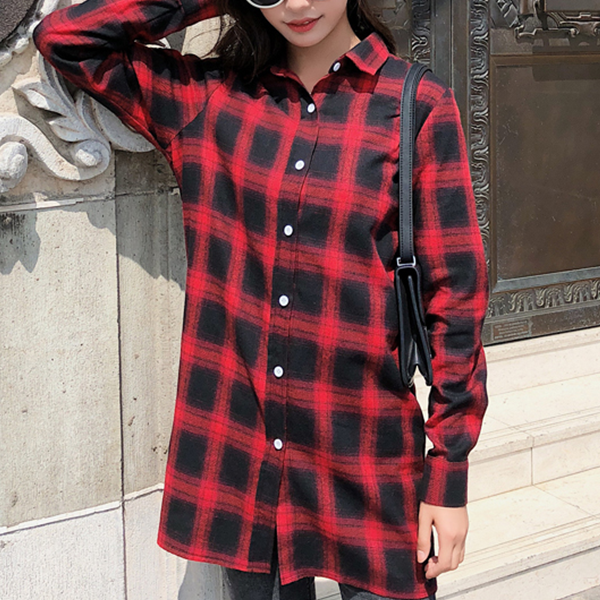 Button Up Full Sleeves Long Shirt Cardigan - Red