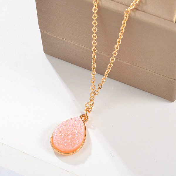 Crystal Water Drop Chain Party Wear Necklace - Pink
