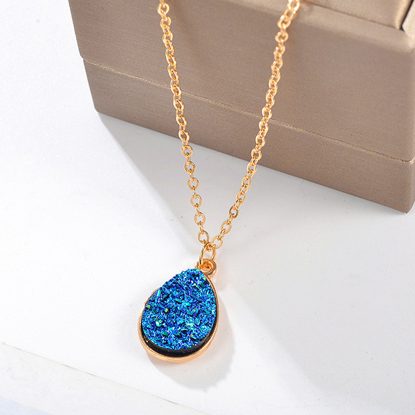 Crystal Water Drop Chain Party Wear Necklace - Blue
