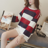 Boat Neck Striped Loose Free Size T-Shirt - Red