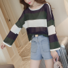 Boat Neck Striped Loose Free Size T-Shirt - Green