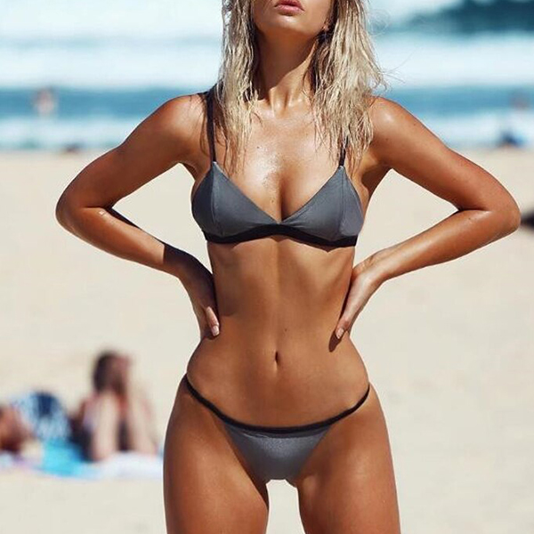 Deep-v Backless Push Up Panties Swimwear Set Bikini- Gary