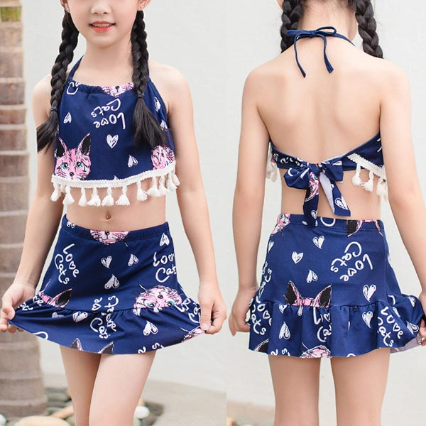 Two Piece Floral Halter Neck Beach Swimwear Suit - Dark Blue