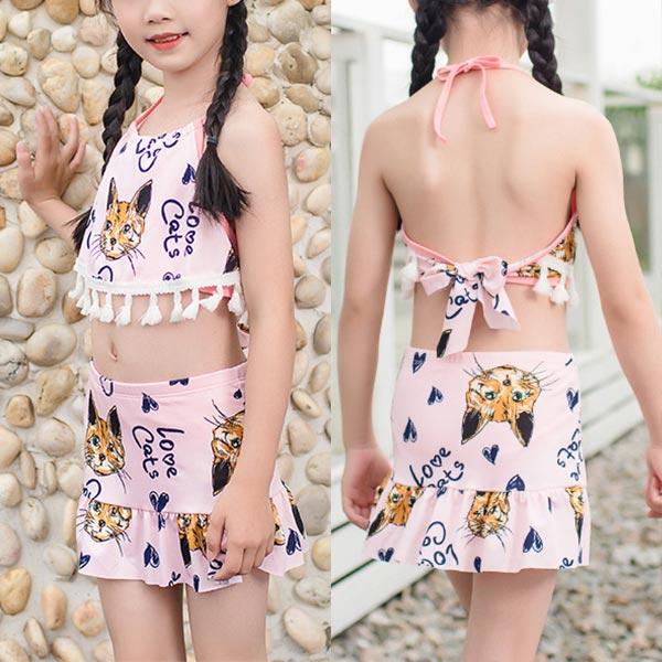Cat Prints Halter Neck Two Piece Swimwear Suit - Pink