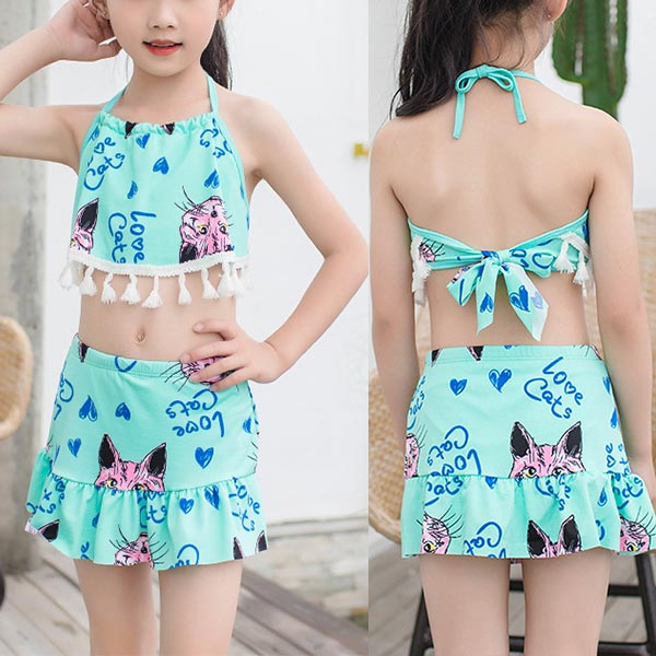 Cat Prints Halter Neck Two Piece Swimwear Suit - Sea Green