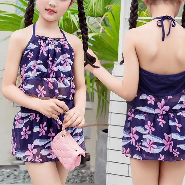 Two Piece Floral Halter Neck Beach Swimwear Suit