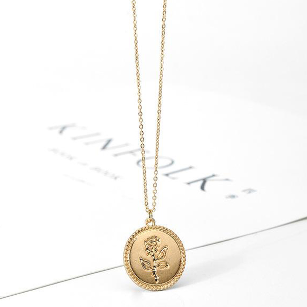 Rose Engraved Gold Plated Chain Necklace
