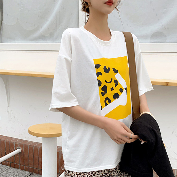 Digital Prints Cheetah Round Neck Loose T-Shirt - White