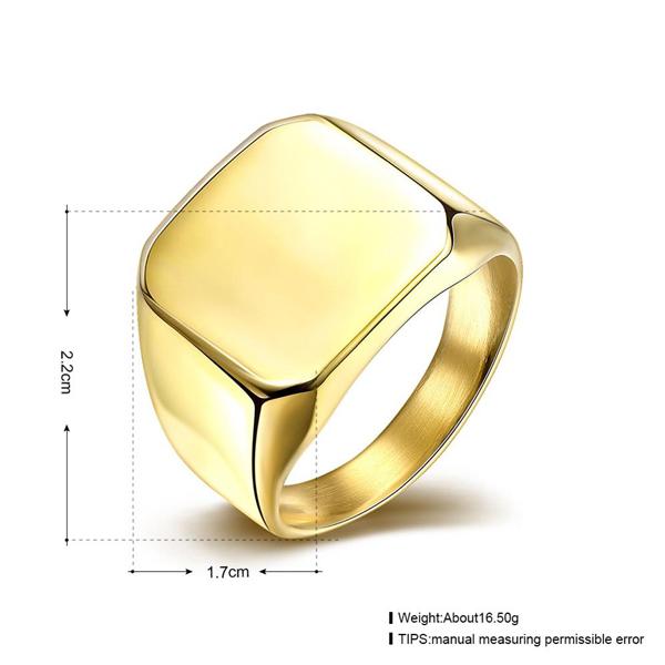 Stainless Golden Steel Titanium Square Ring For Men