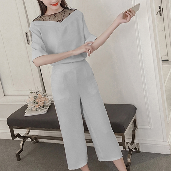 Summer Wear Two Piece Formal Office Suit - Grey
