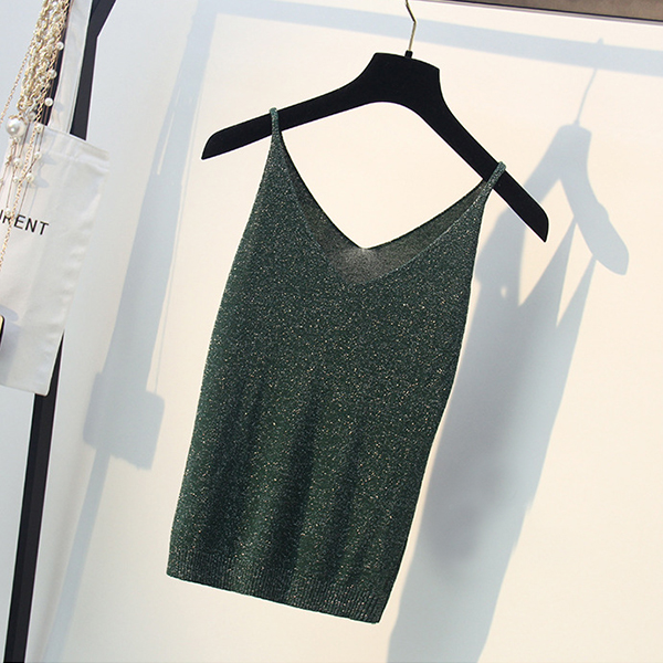 Strap Shoulder Solid Summer Wear Vest - Green