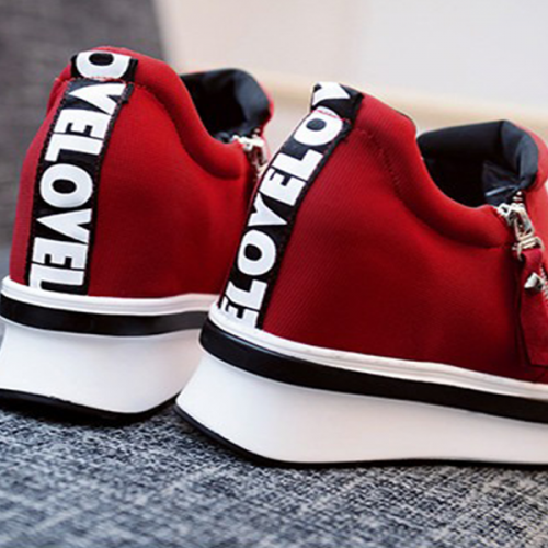 Thick Bottom Zipper Closure Sneakers - Red
