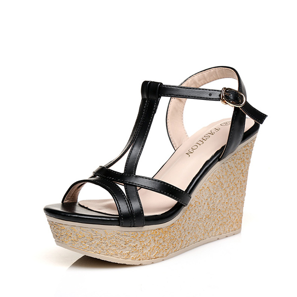 Black High Heels Wedges Sandals Thick Bottom Shoes
