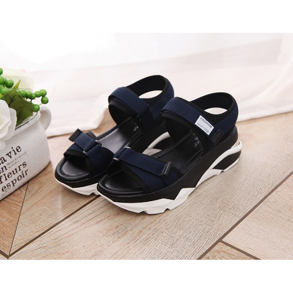 Women Korean Sandals Casual High Heel Flat Bottom Blue