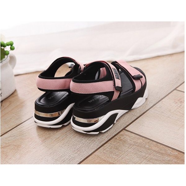 Women Korean Sandals Casual High Heel Flat Bottom Pink