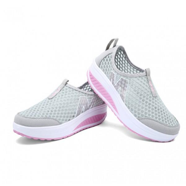 Heavy Bottomed Slip-On Women Mesh Sport Shoes Grey