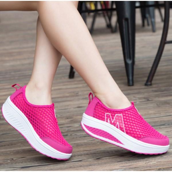 Heavy Bottomed Slip-On Women Mesh Sport Shoes Hot Pink