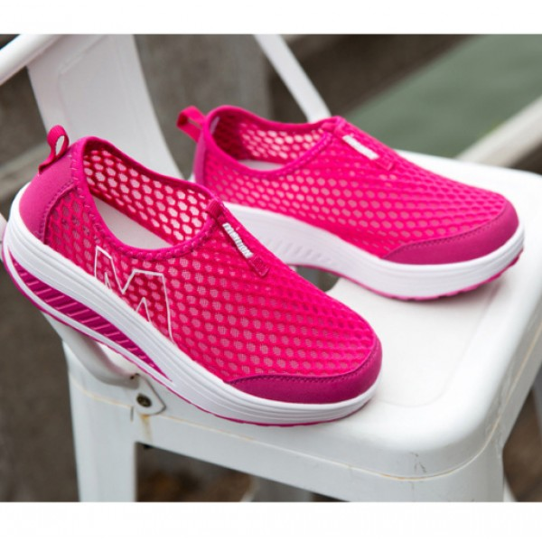 Heavy Bottomed Slip-On Women Mesh Sport Shoes Hot Pink