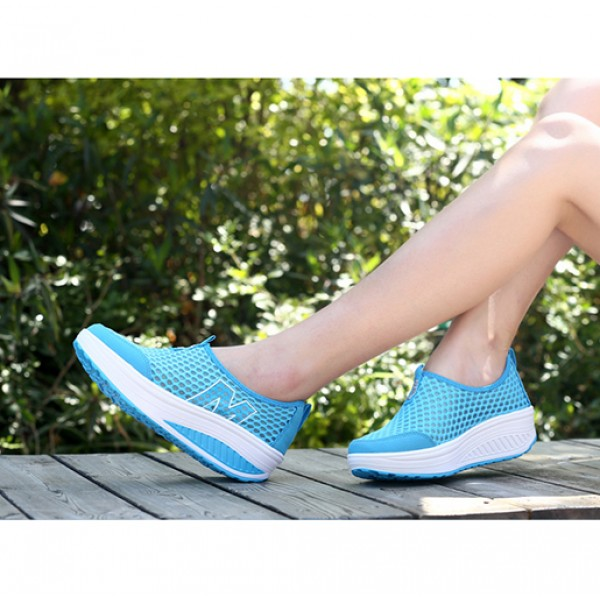 Heavy Bottomed Slip-On Women Mesh Sport Shoes Sky Blue