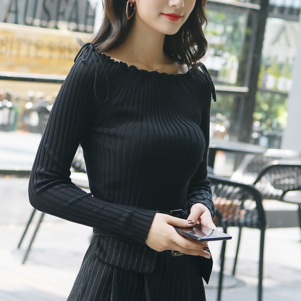 Ribbed String One Shoulder Winter T-Shirt - Black