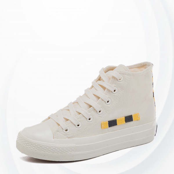 Long Laced Closure Flat Sneakers - White