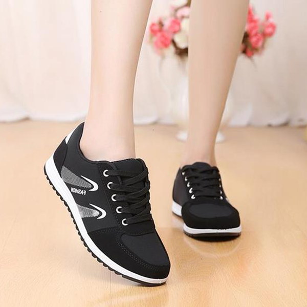 Casual Laced Soft Running Sports Shoes - Black
