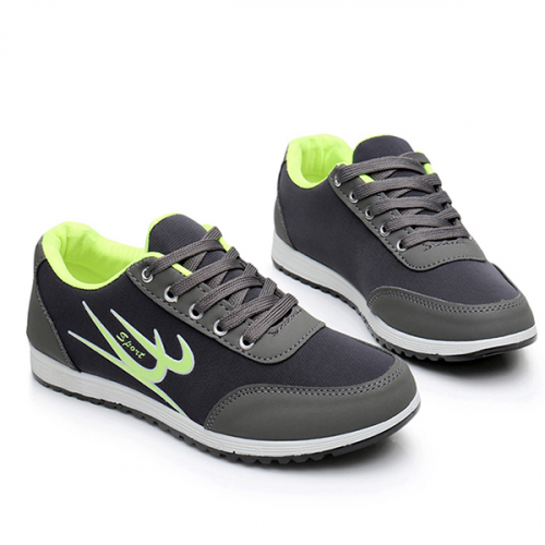 Sports Casual Running Lace Shoes - Grey
