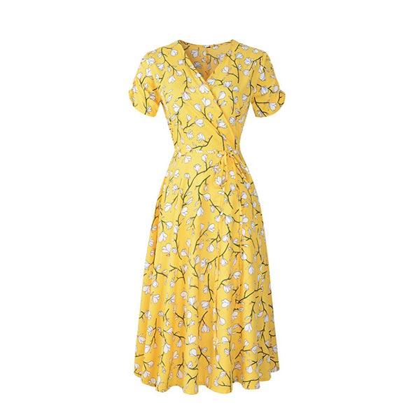 Bohemian Floral Short Sleeve Chiffon Women Dress - Yellow