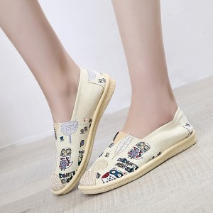 Boho Prints Flat Canvas Casual Wear Shoes - White