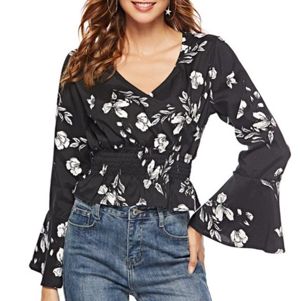 Floral Casual V-neck Ruffles Sleeve Women Blouse - Black